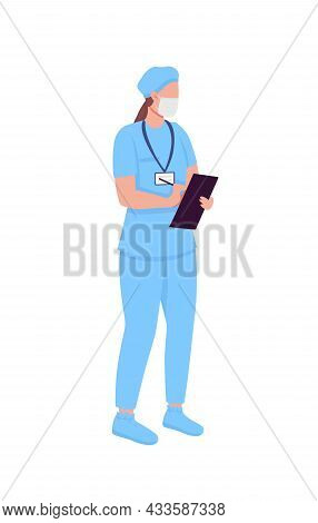 Physician Semi Flat Color Vector Character. Standing Figure. Full Body Person On White. Healthcare W