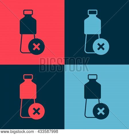 Pop Art No Water Bottle Icon Isolated On Color Background. No Plastic Bottle. Water Bottle Ban Sign.