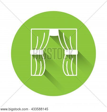 White Circus Curtain Raises Icon Isolated With Long Shadow Background. For Theater Or Opera Scene Ba