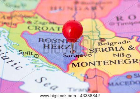Red Pushpin On Map Of Bosnia