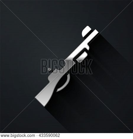 Silver Hunting Gun Icon Isolated On Black Background. Hunting Shotgun. Long Shadow Style. Vector