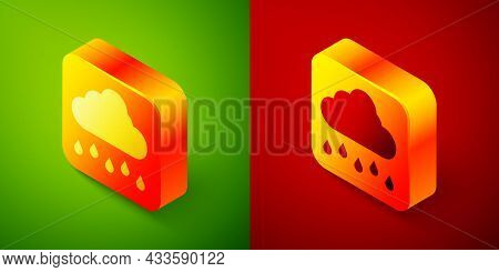 Isometric Cloud With Rain Icon Isolated On Green And Red Background. Rain Cloud Precipitation With R