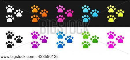 Set Paw Print Icon Isolated On Black And White Background. Dog Or Cat Paw Print. Animal Track. Vecto