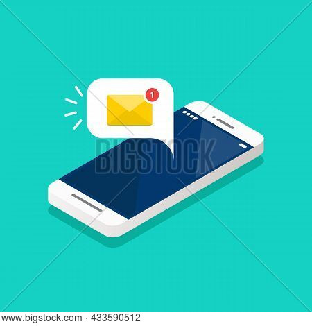 New Email Notification On The Smartphone Screen Isometric. Vector Illustration