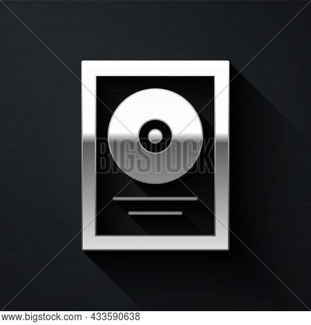 Silver Cd Disk Award In Frame Icon Isolated On Black Background. Modern Ceremony. Best Seller. Music