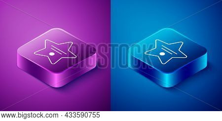 Isometric Walk Of Fame Star On Celebrity Boulevard Icon Isolated On Blue And Purple Background. Holl
