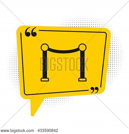 Black Rope Barrier Icon Isolated On White Background. Vip Event, Luxury Celebration. Celebrity Party