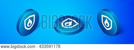 Isometric Fire Protection Shield Icon Isolated On Blue Background. Insurance Concept. Security, Safe