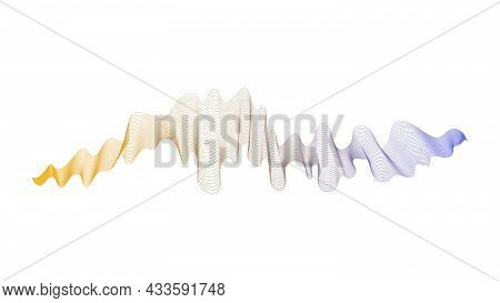 Abstract Backdrop With Yellow And Blue Wave Gradient Lines On White Background. Modern Technology Ba