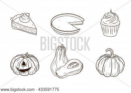 Thanksgiving Pumpkin Dishes Collection. Autumn Holiday Food Set. Fresh Ripe Pumpkins And Pumpkin Pie