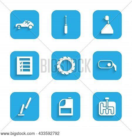 Set Car Tire Wheel, Canister For Motor Machine Oil, Gear Shifter, Rearview Mirror, Windscreen Wiper,