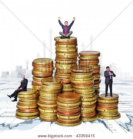 business people on  euro money piles