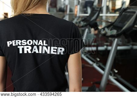 Personal Trainer In Modern Gym, Back View