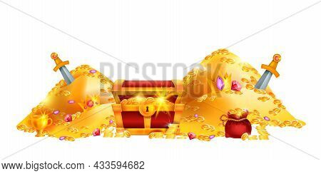 Gold Pirate Treasure Vector Illustration, Old Cartoon Chest, Money Coin Pile, Royal Crown, Red Full