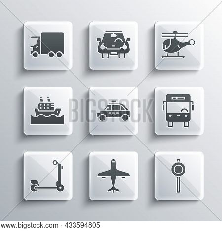 Set Plane, Road Traffic Signpost, Bus, Taxi Car, Scooter, Cruise Ship, Delivery Cargo Truck And Heli