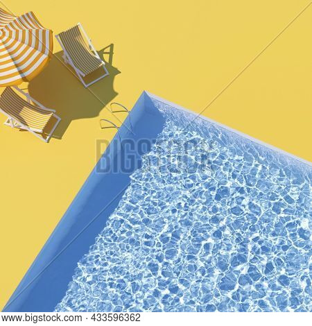 Pool top view with sun lounger and umbrella. Holiday concept art. 3D illustration, rendering.