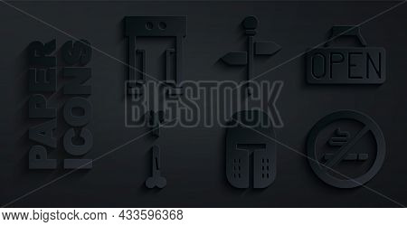 Set Medieval Iron Helmet, Hanging Sign With Open, Human Broken Bone, No Smoking, Road Traffic Signpo