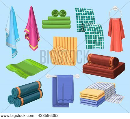 Towels, Bathroom And Bathing Fabrics, Vector Piles And Folded Cloth Textile. Cotton Bathroom Towels