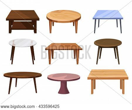 Tables Furniture Of Wood, Wooden Desks And Interior Objects, Vector Set. Round And Square Tables Wit
