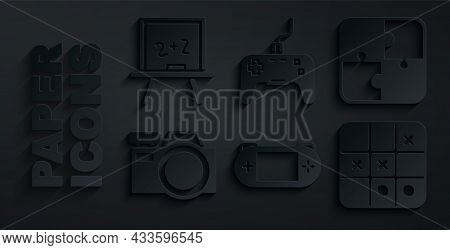 Set Portable Video Game Console, Puzzle Pieces Toy, Photo Camera, Tic Tac Toe, Gamepad And Chalkboar