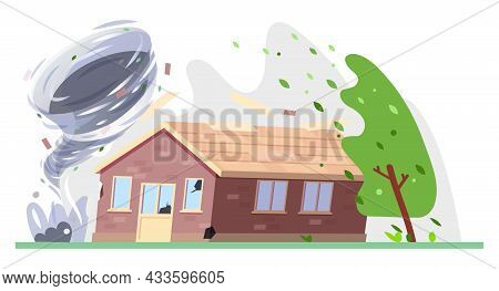 Tornado Storm And House, Hurricane Or Cyclone Wind, Vector Natural Disaster Damage. Weather With Typ