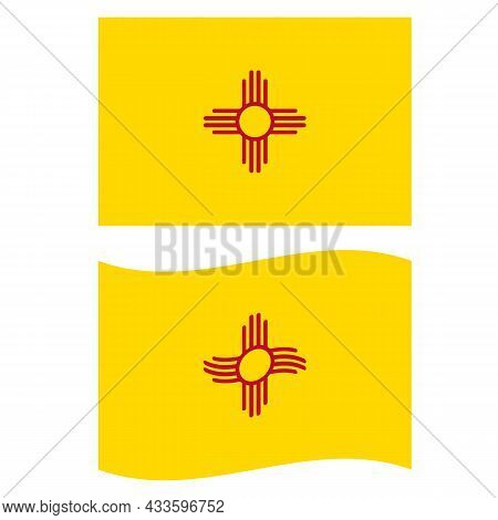 New Mexico Flag On White Background. New Mexico State Flag Sign. Waving New Mexico Flag. Flat Style.