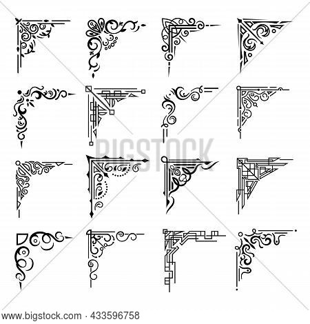 Floral Corners And Border Frames With Flourish Decorations, Vector Set. Abstract Flower Embellishmen
