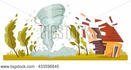 Tornado Storm Destroying House, Hurricane Or Cyclone Wind, Vector Natural Disaster Damage. Stormy We