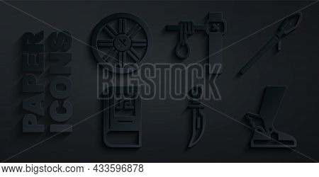 Set Dagger, Medieval Spear, Greek History Book, Hermes Sandal, Gallows And Old Wooden Wheel Icon. Ve