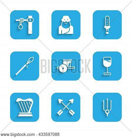 Set Ancient Chariot, Crossed Arrows, Neptune Trident, Wine Glass, Harp, Medieval Spear, Sword And Ga