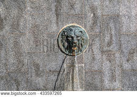Lion Head Fountain On The Cascade Steps In Shevchenko Park In Kharkiv (ukraine). A Jet Of Water Flow