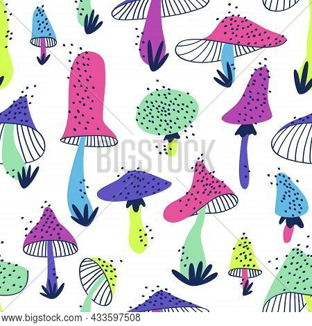 Pattern With Stylized Mushrooms Of Various Shapes.  Seamless Pattern From Bright Neon Mushrooms On A