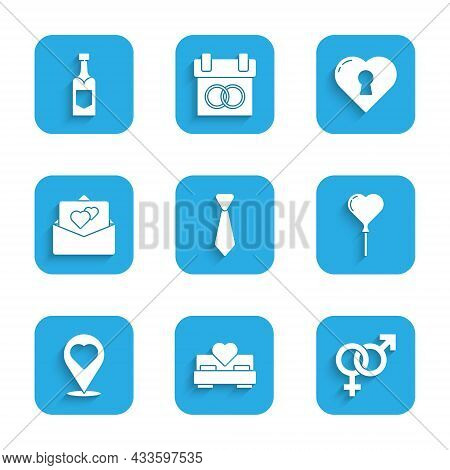 Set Tie, Bedroom, Gender, Balloons In Form Of Heart, Location With, Greeting Card, Heart Keyhole And