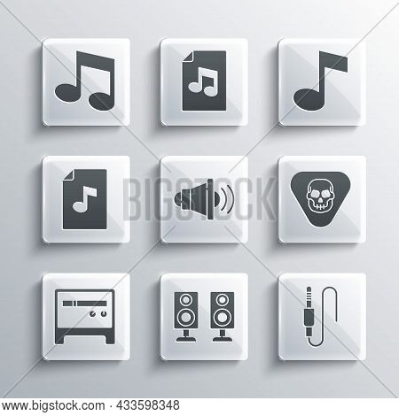 Set Stereo Speaker, Audio Jack, Guitar Pick, Speaker Volume, Amplifier, Music Book With Note, Note,