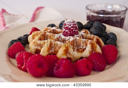 Delicious Waffle With Berries, Sugar And Honey