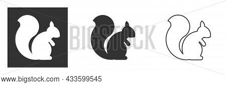 Squirrel Silhouette Gray Color Vector Icon On White Background. Vector Illustration