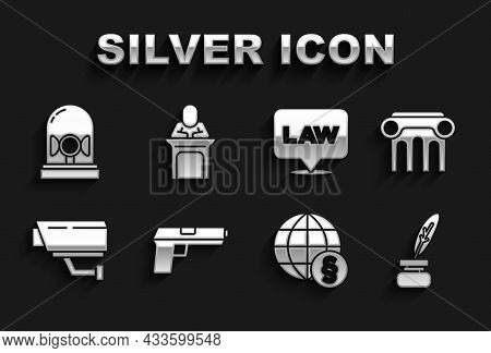 Set Pistol Or Gun, Law Pillar, Feather And Inkwell, International Law, Security Camera, Location, Fl