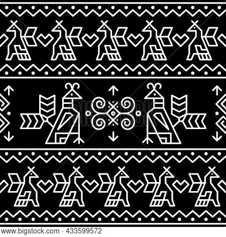 Slovak Tribal Folk Art Vector Seamless Geometric Birds Pattern Inspired By Traditional Painted Hours