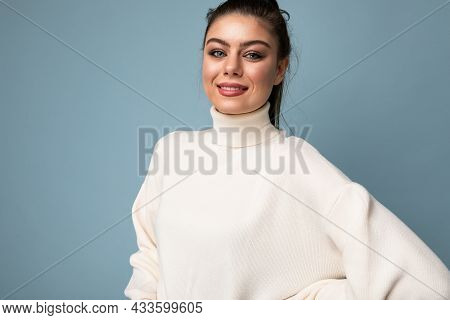 Closeup Photo Of Cute Nice Charming Gorgeous Pretty Youngster Smiling Toothily Isolated Over Blue Co