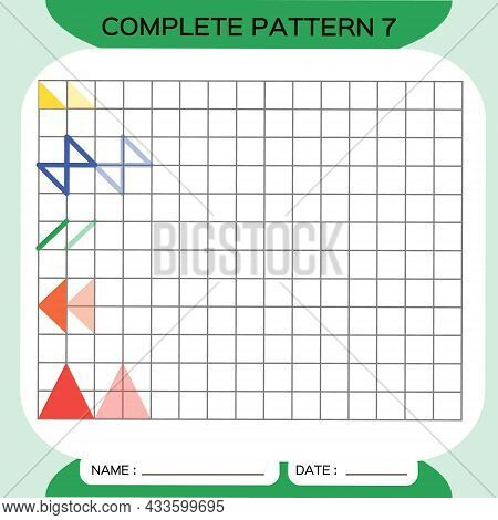 Repeat Pattern, Puzzle. Copy Picture. Special For Preschool Kids. Printable Kids Worksheet For Pract