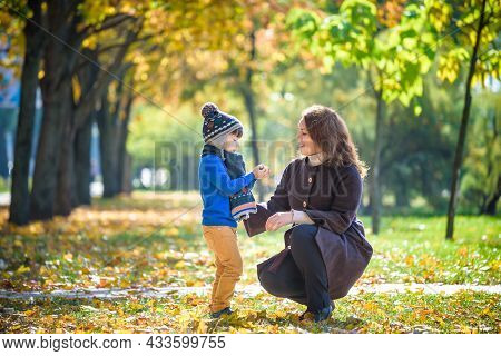 Mother And Baby Play In Autumn Park. Parent And Child Walk In The Forest On A Sunny Fall Day. Childr