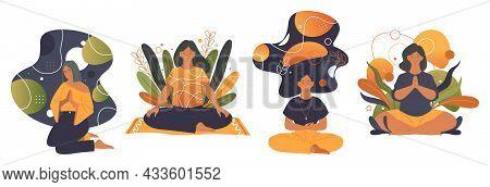Meditation Or Yoga Practice, Vector Label Set