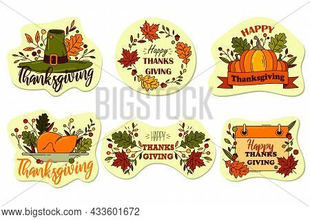 Thanksgiving Or Holiday Labels, Vector Sticker Set