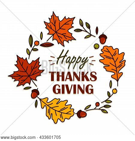 Holiday Banner Or Postcard With Thanksgiving Text