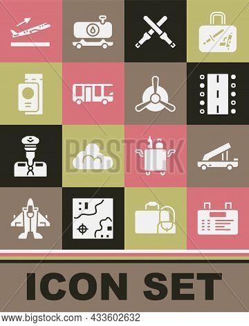 Set Airport Board, Passenger Ladder, Runway, Marshalling Wands, Bus, Passport With Ticket, Plane Tak