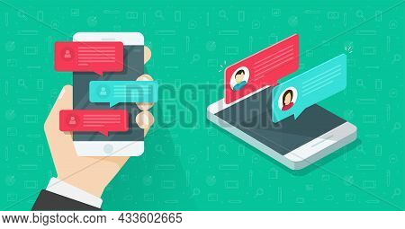 Online Chat Messages Text Notifications On Mobile Cell Phone Or Sms Notices On Person Man Hand With