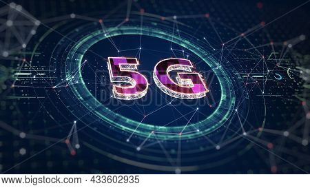 5g Network Wireless Internet Wi-fi Connection. 5g Connectivity Of Digital Data And Futuristic Inform