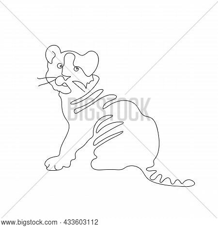 Small Tiger cub in a Line style. One continuous drawing of a Tiger. Black and white simple stylish illustration, greeting banner, poster, postcard. New year 2022.