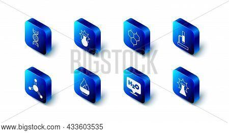 Set Chemical Explosion, Formula, Microscope, H2o, Alcohol Spirit Burner, Molecule And Dna Symbol Ico