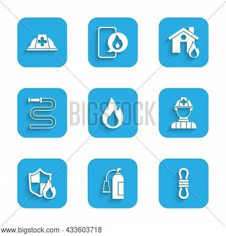 Set Fire Flame, Extinguisher, Climber Rope, Firefighter, Protection Shield, Hose Reel, Burning House